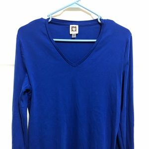 Anne Klein LS Cotton V-Neck Tee Royal Blue Large